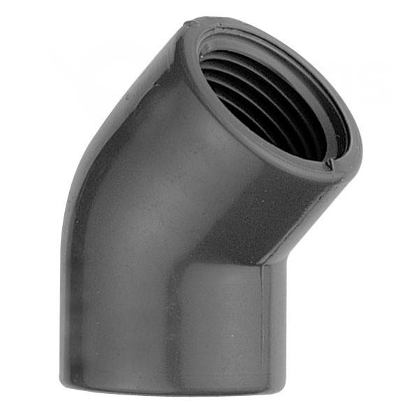 """Koleno 45° PVC 50 x 50 mm lepenie / vnútorný závit 1 1/2"""""""