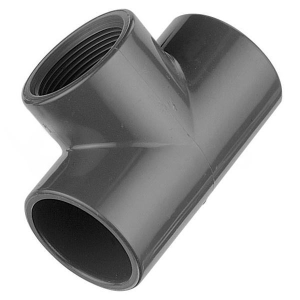 "T - Kus PVC 63 x 63 x 63 mm lepenie / vnútorný závit 2"""
