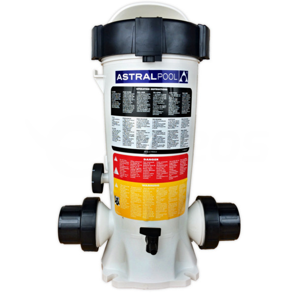 Poloautomatický dávkovač bazénovej chémie na potrubie