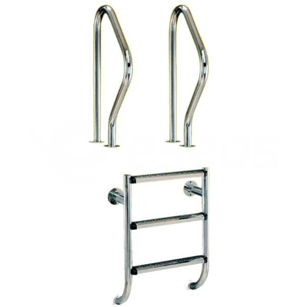 Rebrík nerez dvojdielny 3 stupne, AISI 304
