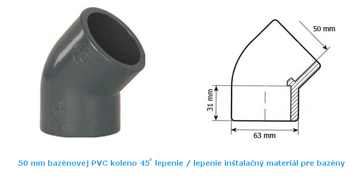 PVC koleno 45 lepenie 50 mm