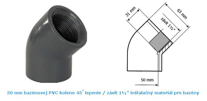 PVC koleno 45 lepenie 50mm závit