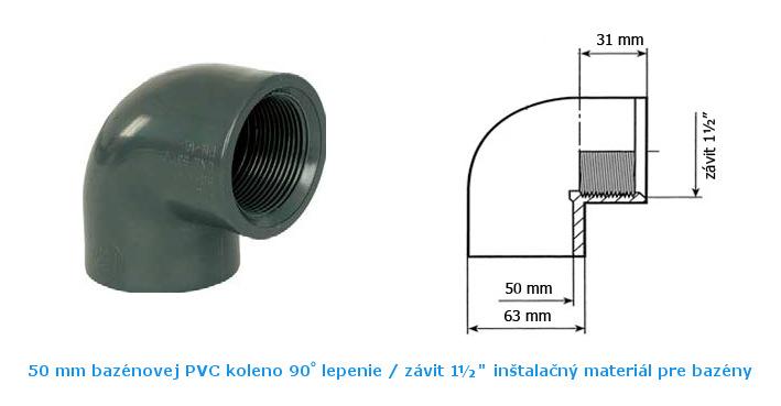 50 mm koleno 90 lepenie vnútorný závit