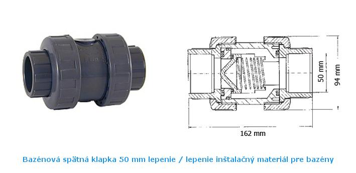 Bazénová spätná klapka 50 mm