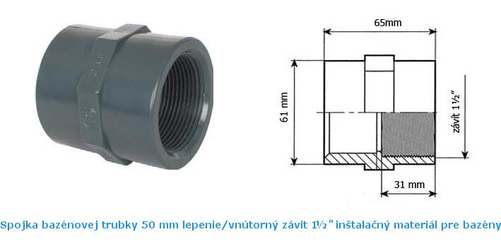 Spojka trubiek 50 mm lepenie vnútorný závit