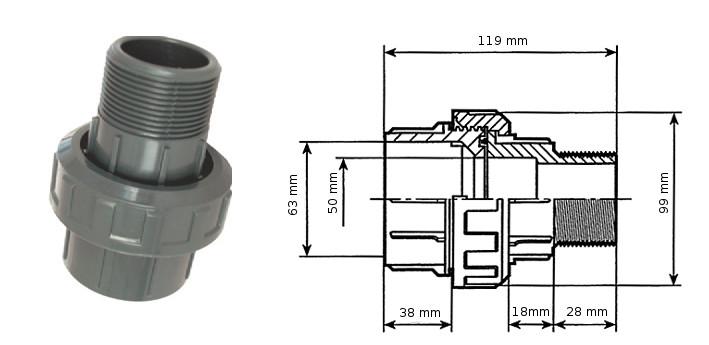 šroubení PVC 63 mm